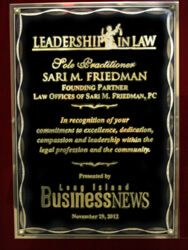 "Long Island Business News ""Leadership in Law"" Award"